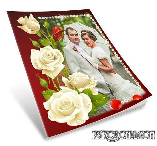 Wedding Photo album template- bright rose and hearts in love ( Wedding photobook psd template)