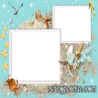 Maritime photo frame for photo - Marine life is on the sea shore
