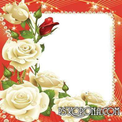 Photo frame with a bouquet of roses – Breathing in the scent of roses