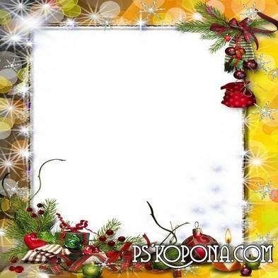 Winter frame for photoshop - Range snowflakes mess