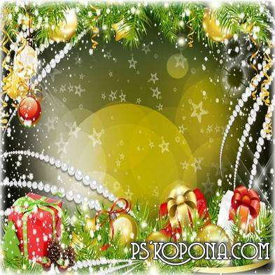 Christmas frame for photo - Silently in the air swirling snowflakes