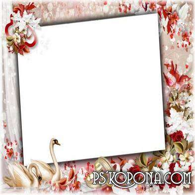 Wedding frame with rings and flowers - Wear rings gold