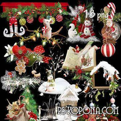 Christmas PNG clipart for photo design in Photoshop - new year and Christmas clusters