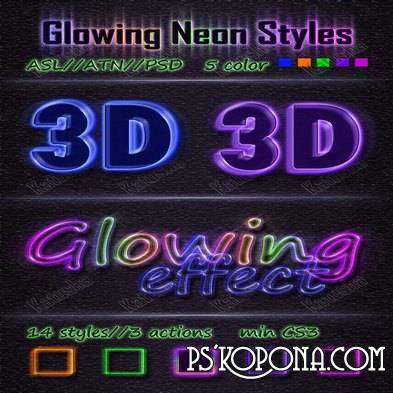Glowing Neon Styles for Photoshop