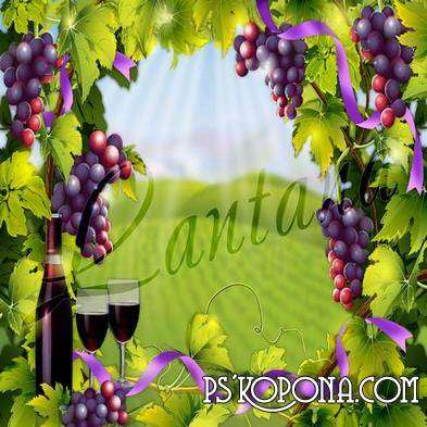 Free layered PSD backgrounds - drinks, wine and bunches of ripe grapes