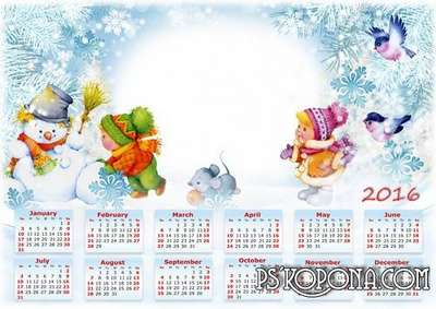 Winter PNG calendar for kids and baby pictures with snowman, bear and penguin - 8 PNG