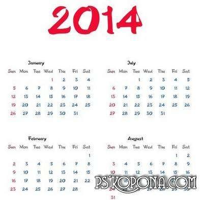 Grid calendar PNG 2013, 2014