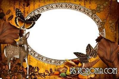 A set of children's frame the autumn theme