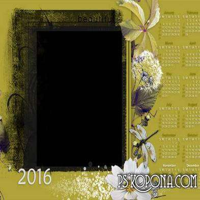 FREE Romantic framework-calendar 2016 my garden Multilayer PSD