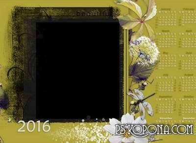 FREE Romantic framework-calendar 2016 my garden Multilayer PSD