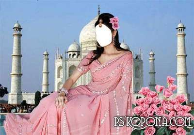 Template the Indian woman with roses