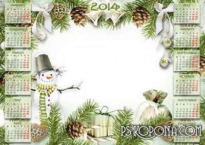 Children winter calendar-frame for 2014 - Funny Snowman