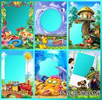 Children frame for Photoshop - Cartoon animals