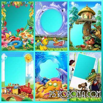 Children frame for Photoshop - Cartoon animals