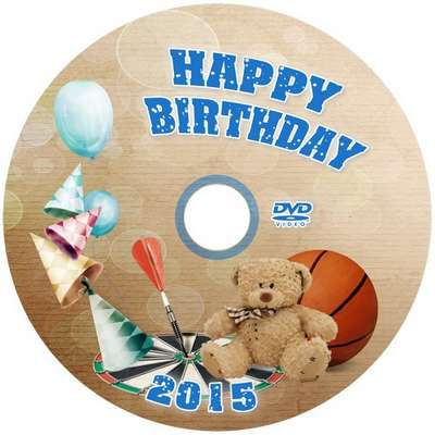 Free DVD cover template for kids birth (boys) with blowing-in for disk and photo frame