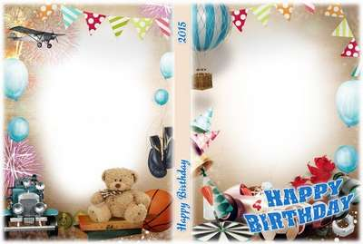 Attractive Free DVD Cover Template For Kids Birth (boys) With Blowing In For Disk And  Photo Frame