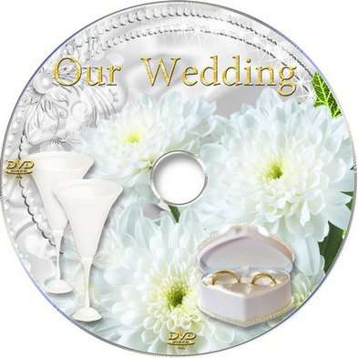 Wedding DVD cover template and blowing DVD - White chrysanthemum