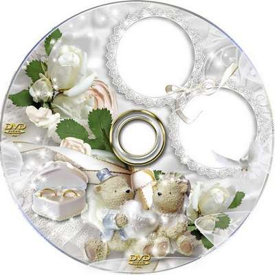 Free Wedding DVD cover template and blowing on a disk with white flowers