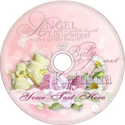 Free Charming Baby kit - My Little Angel. Photo frame, DVD cover template and blowing on the disc in two versions - a boy and a girl.