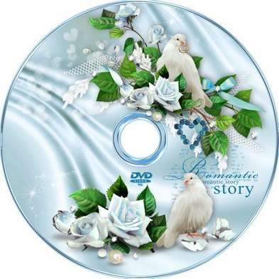 Free Wedding set from DVD cover template and blowing-in DVD on a disk - Perfect idyll