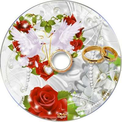 Free Wedding DVD cover template and blowing disk - Red roses
