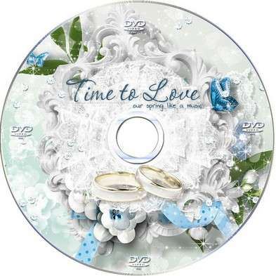Free Wedding set of DVD cover template and blowing on the disc - The moments of happiness