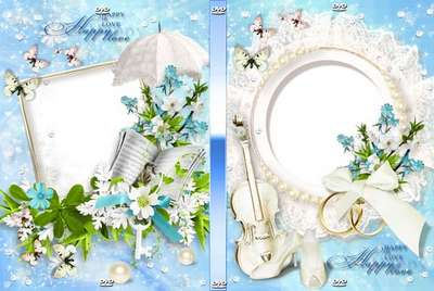 Free Beautiful wedding set - DVD cover template and blowing on the disc - Happy Love!