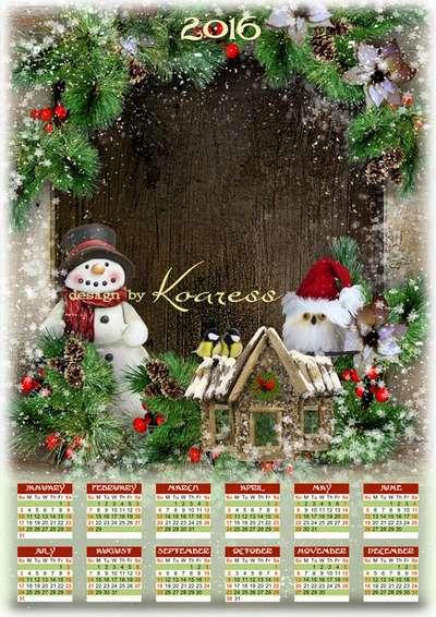 Free Christmas calendar-framework PSD with snowman and birds for 2016