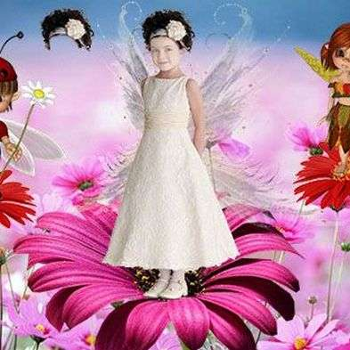 Free children's PSD template for photo of the design ( for girls) - a little Princess in fairy valley