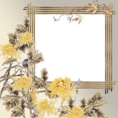 Free photo frame female with beautiful chrysanthemums in the romantic style.