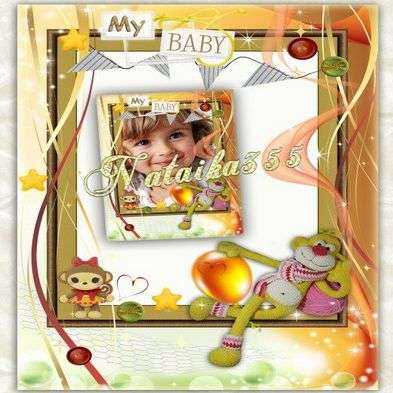 Free kids festive frame png & psd with toy monkeys and balloon