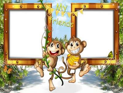 Free children photo frame with funny cartoon monkeys - 2 frame png ...