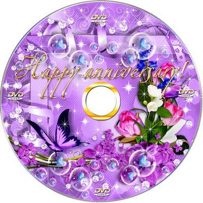 Set celebrant in lilac tones - blowing and DVD cover template-Happy Anniversary!
