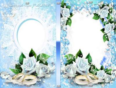 Delicate wedding set with blue roses-cover and blowing on the disc - With you forever inseparable