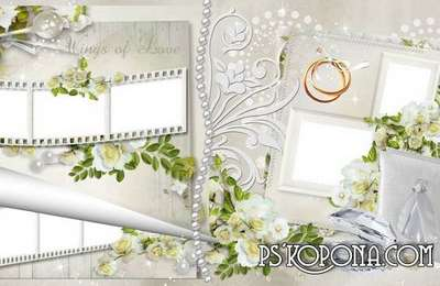 Beautiful wedding photobook template psd - congratulations to the Newlyweds, Love and happiness they wish
