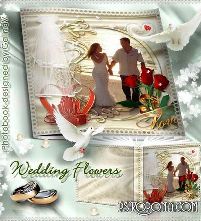 Romantic Photobook template psd - Wedding Flowers