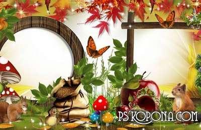 Beautiful autumn photo album template psd for children - Golden autumn