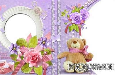 Delicate baby album in pink and purple colors- My little princess