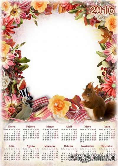 PSD Calendar with a frame for a photo with autumn leaves and flowers in 2016 ( English, Spanish, Russian)