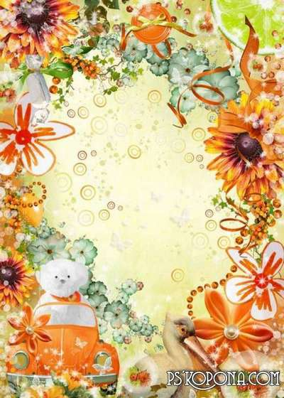 Bright children's frame with flowers - Mood at me today, Orange