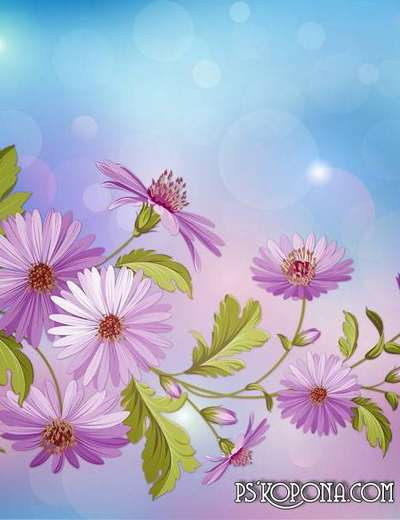 Free 2 multilayer PSD background for design - purple flowers in autumn