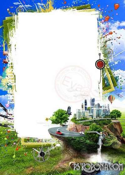 PSD photo Frame for mens photos on the background of nature and the city