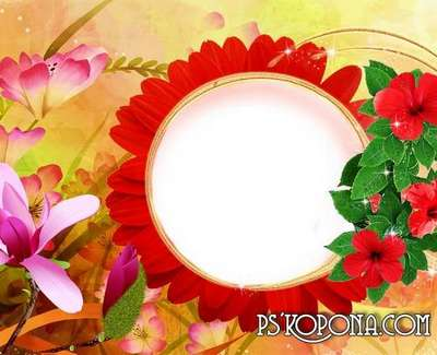 Free children's PSD frame - photo in beautiful flowers.