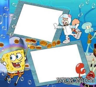 Photo frame for photo - The underwater world of SpongeBob