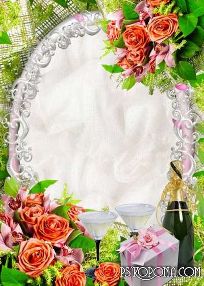 Photo frame with flowers and champagne - Champagne plays in the crystal