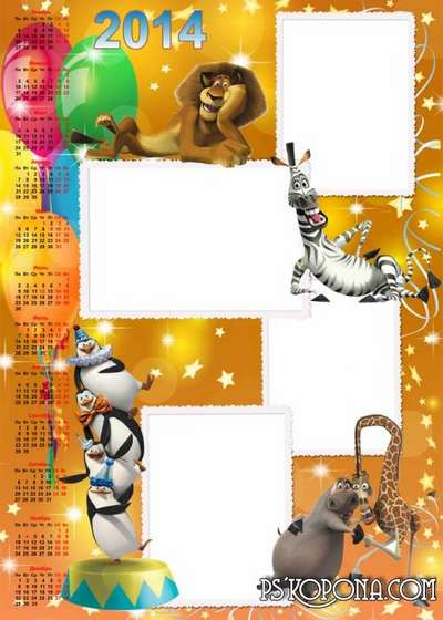 Children's calendar for the year 2014 - The penguins of Madagascar
