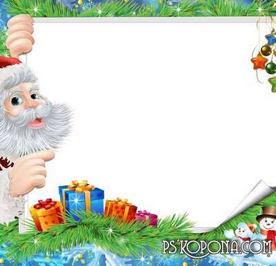 Winter baby photo frame with Santa Claus - Festive day