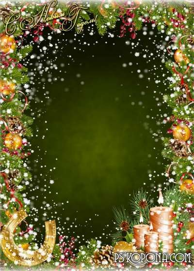 Christmas photo frame with a horseshoe - New year