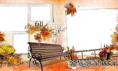 Autumn PSD  Frame for girls with flowers and hearts