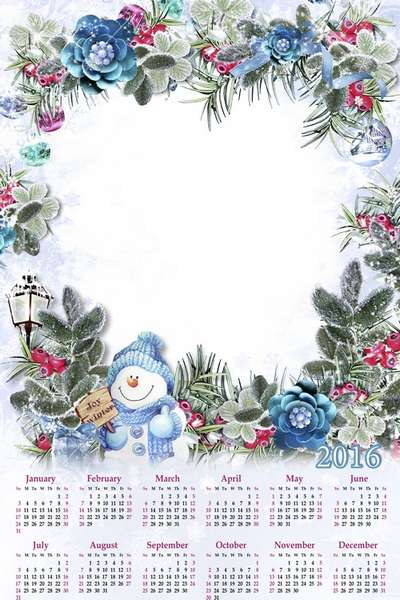 Free winter calendar photo frame PNG for 2016 - 6 PNG, English